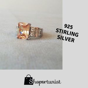 Jewelry - 925 Peach & White Topaz Cocktail Ring